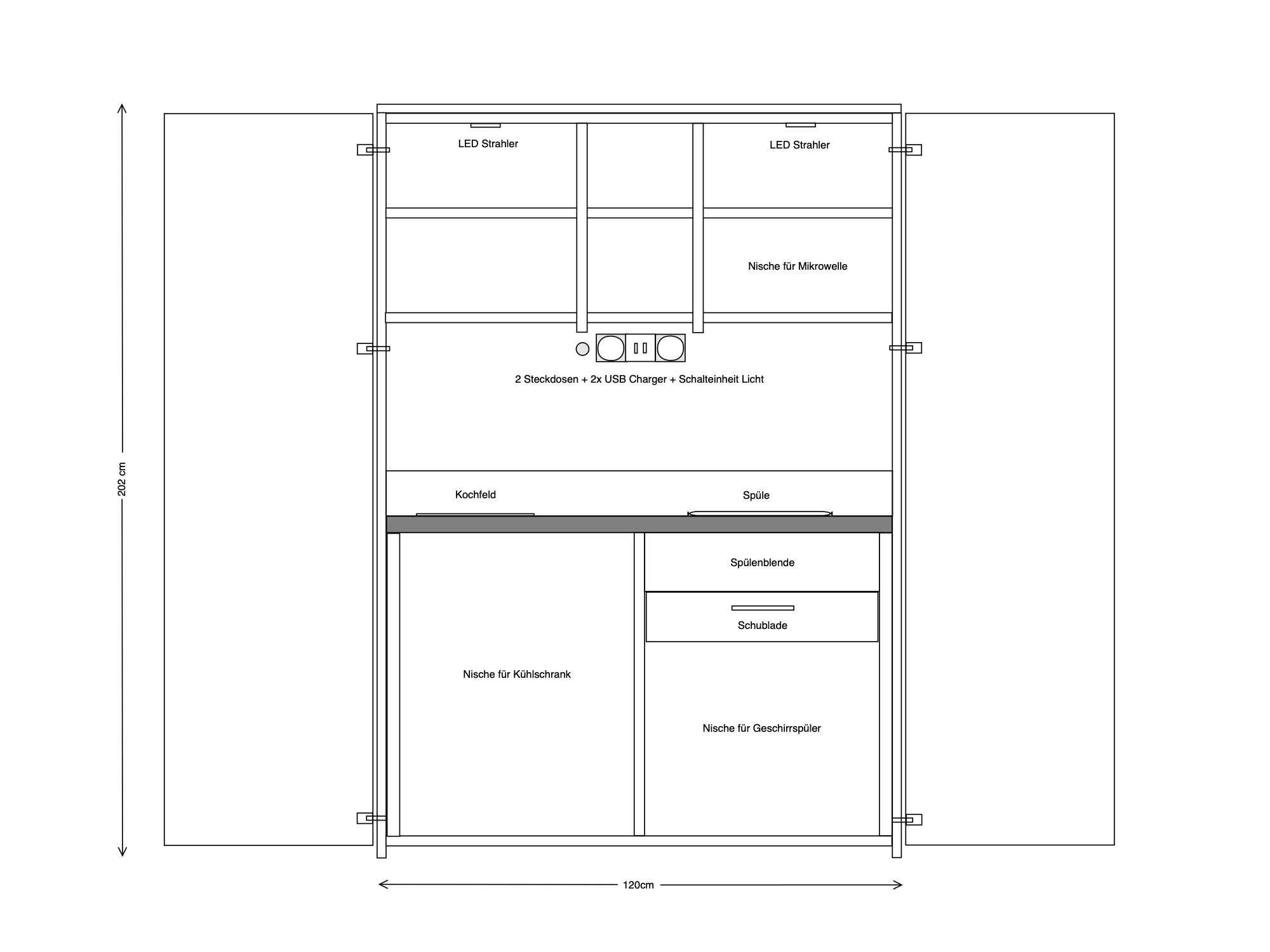 Skizze Schrankküche 120