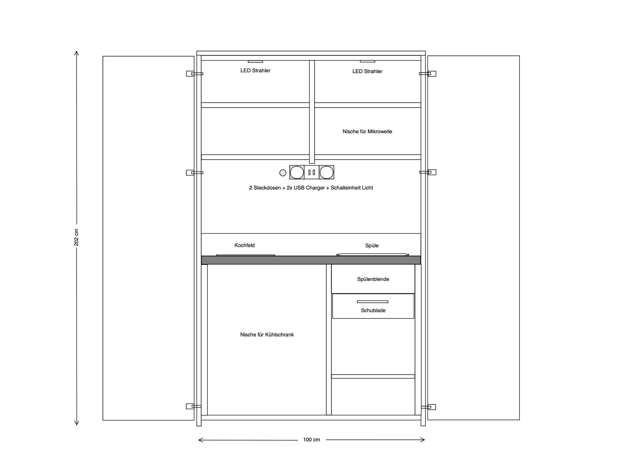 Skizze Schrankküche 100