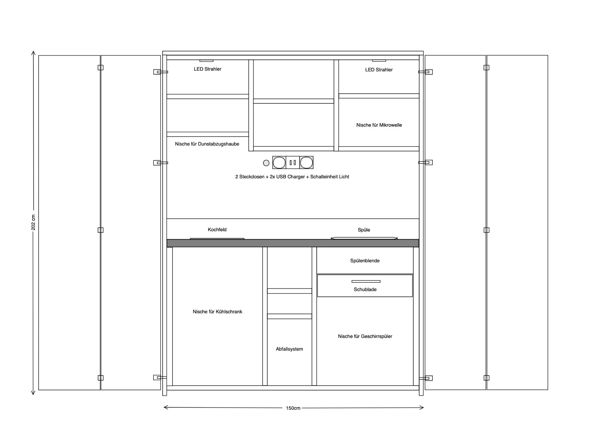 Skizze Schrankküche 150