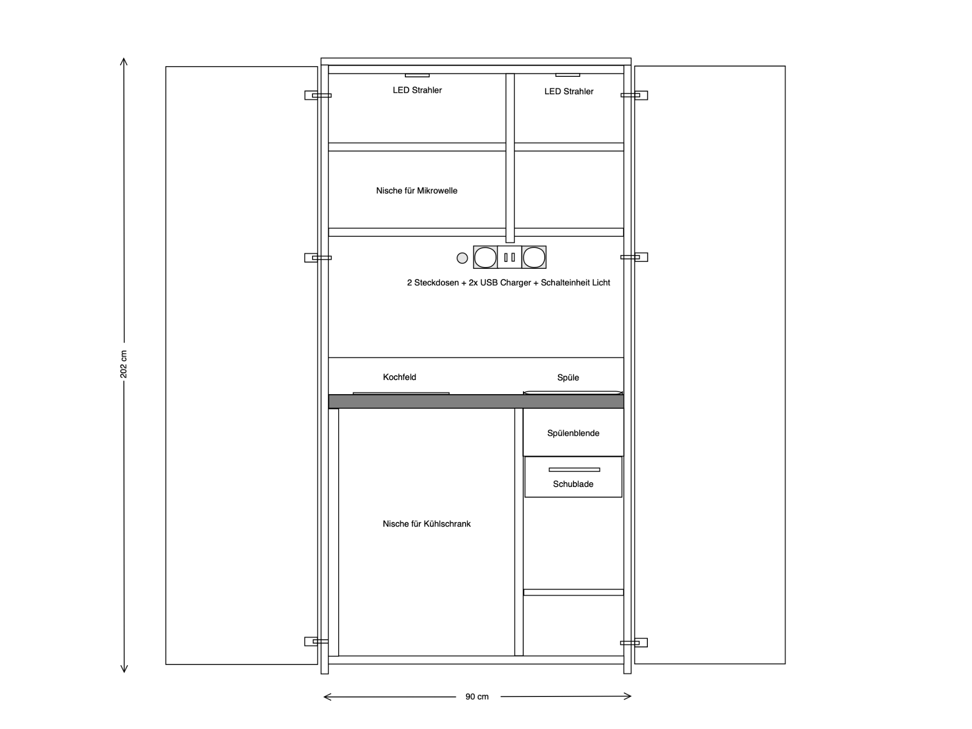 Skizze Schrankküche 90